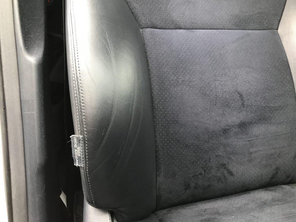 トヨタ ブレイド レザーシートの色剥がれ補修