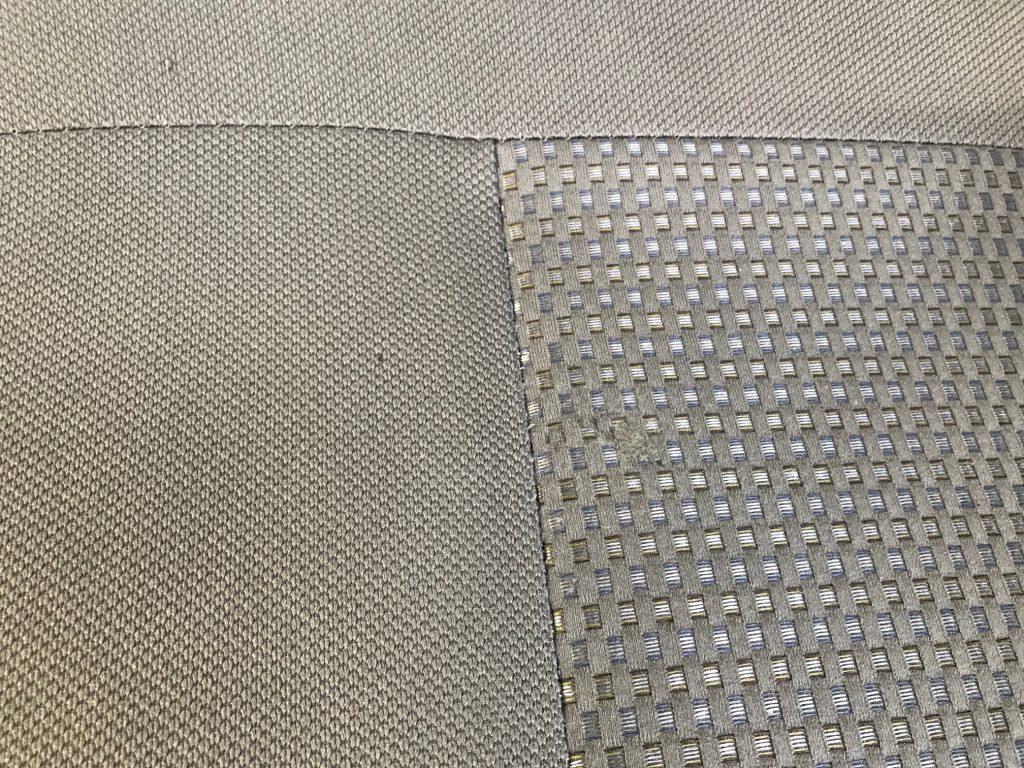 ダイハツ ミラ イース 平織り生地シートの焦げ穴補修
