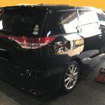 トヨタ エスティマ モケットシートの焦げ穴補修